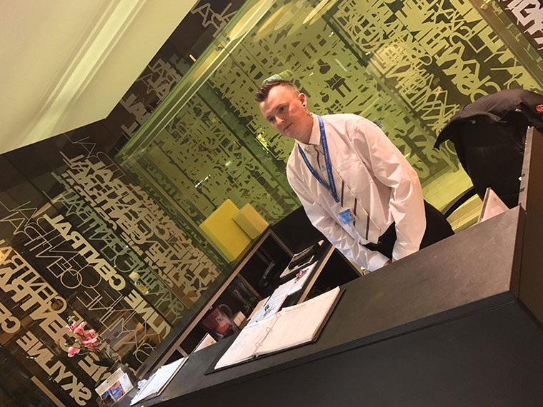 male reception   concierge security Stoke